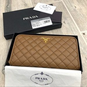 Prada Quilted Saffiano Leather Zipper Wallet